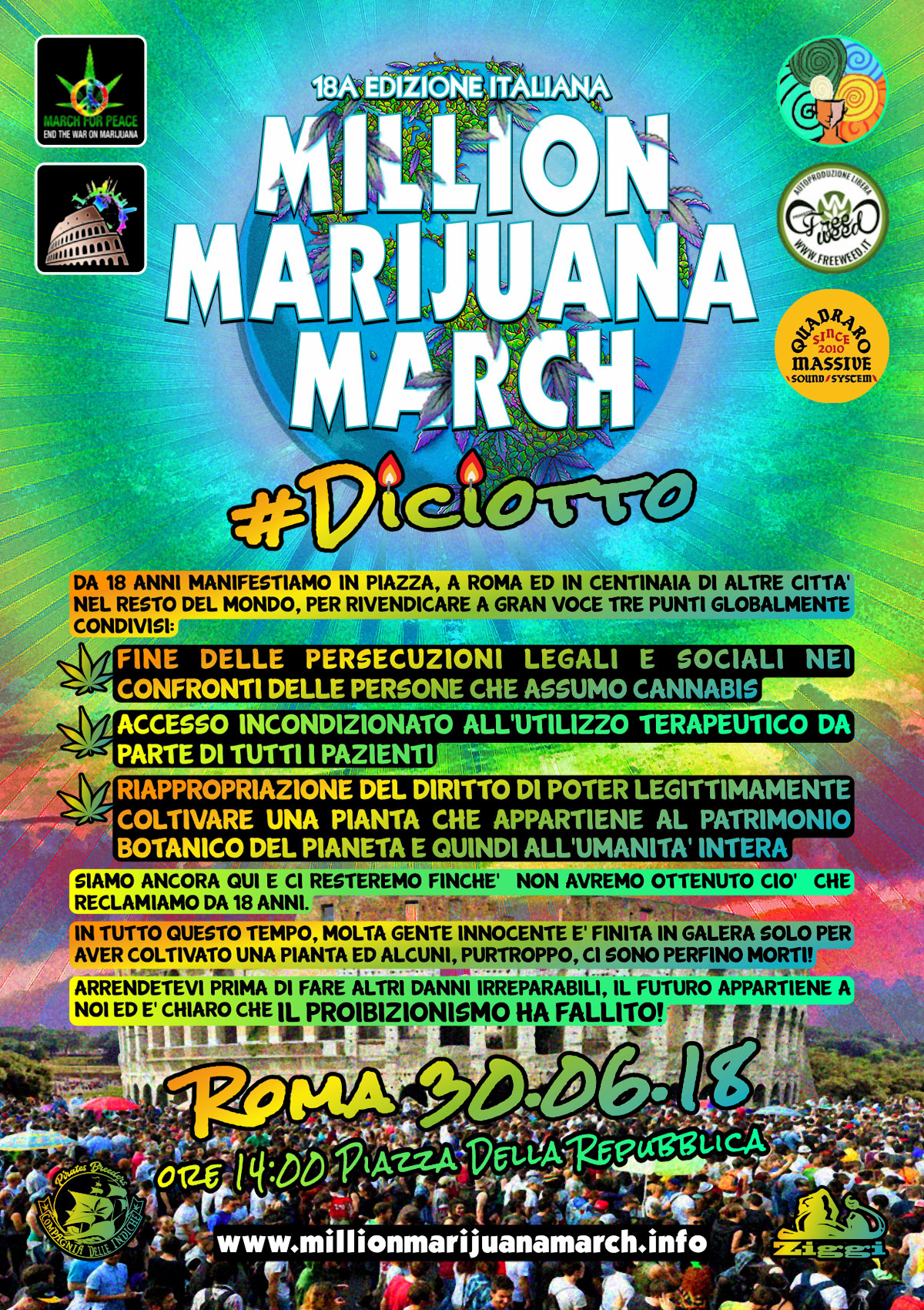 18a Edizione Million Marijuana March Italia - Sab 30 Giugno 2018 - ROMA