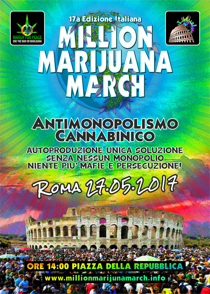 Million Marijuna March 2017 - Roma, sabato 27 maggio - Locandina
