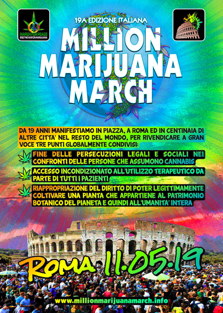 19a Edizione Million Marijuana March Italia - Roma, Sab 11 Maggio 2019