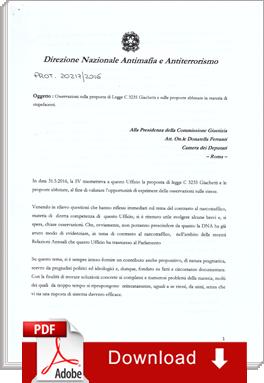 Direzione Nazionale Antimafia: download della relazione alla camera sulla proposta di leggedell'Intergruppo Cannabis Legale