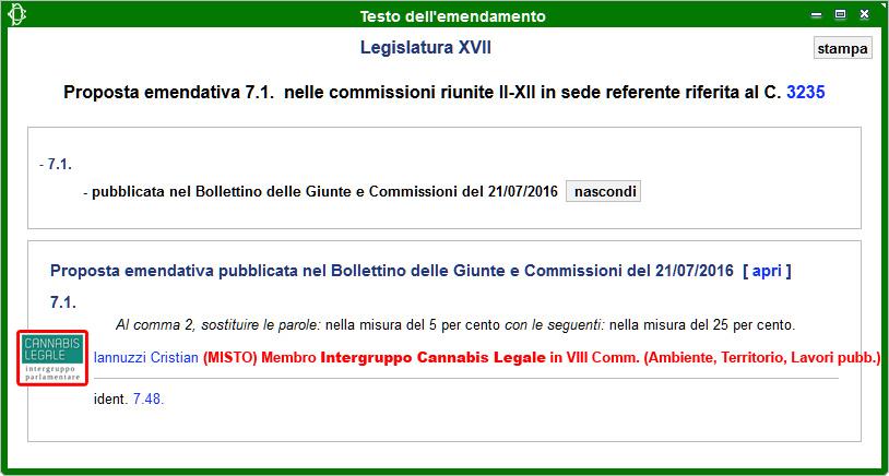 Intergruppo Cannabis Legale: Emendamento 7.1 alla Propoposta di Legge sulla Legalizzazione