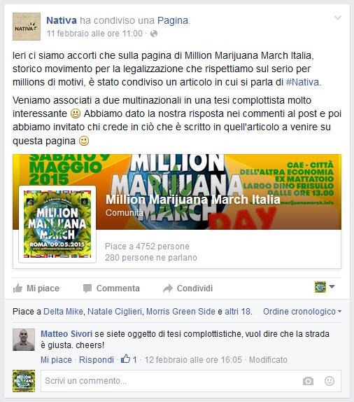 Cannabis Nativa commenta Million Marijuana March