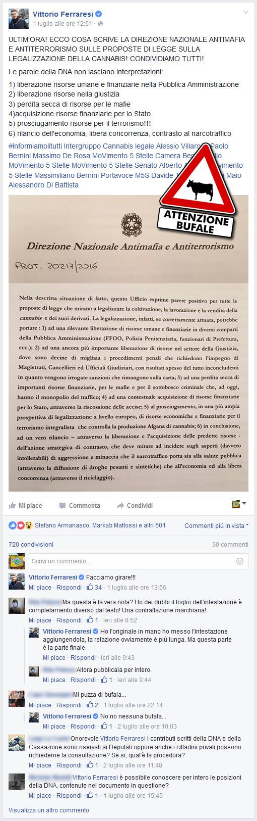 Pagina Facebook Vittorio Ferraresi (M5S) - 1 luglio 2016, ore 12:51