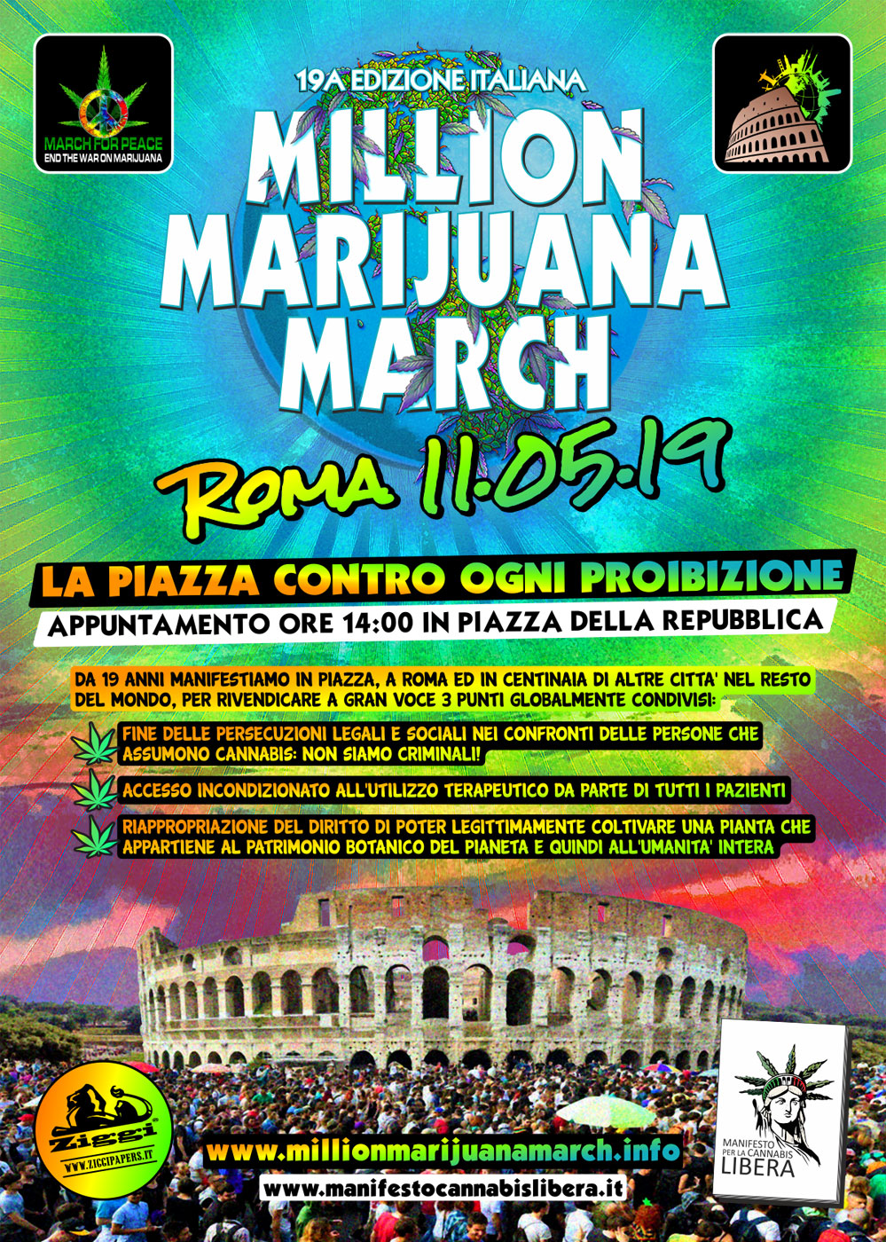 Locandina Million Marijuana March 2019 - Roma, Sabato 11 Maggio