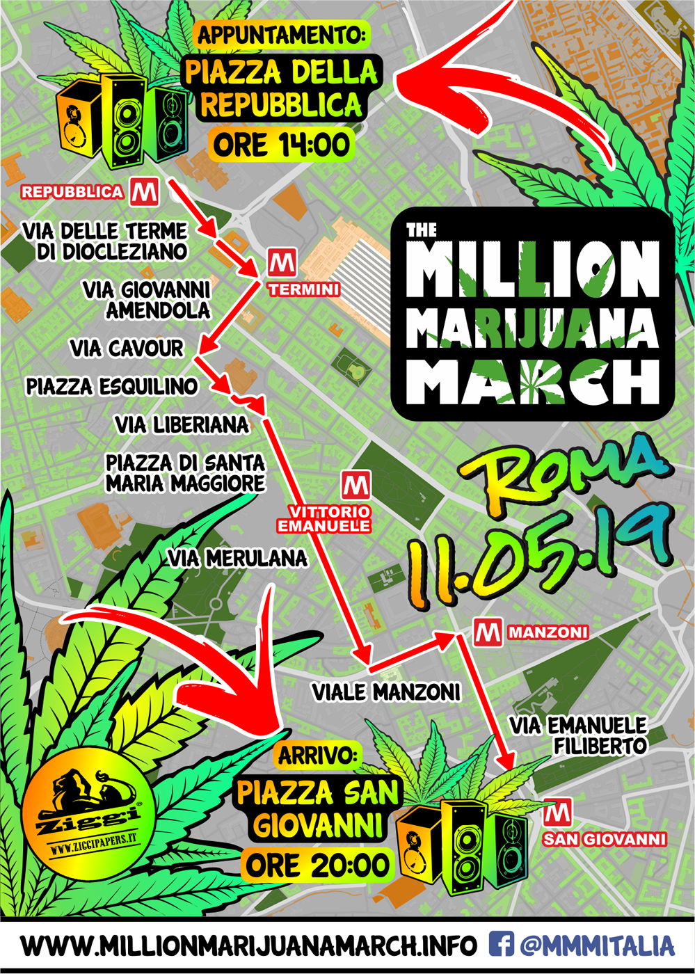 Percorso Million Marijuana March 2019 - Roma, sabato 11 Maggio